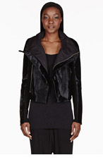 RICK OWENS Black Calf-Hair Biker Jacket for women