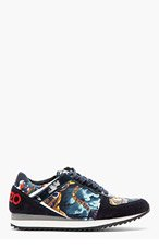 KENZO Tan & blue Flying tiger Snax Sneaker for women