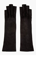 GARETH PUGH Black Leather Cut Out Gloves for women