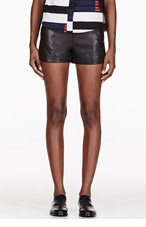 RAG & BONE Black high-waisted leather shorts for women