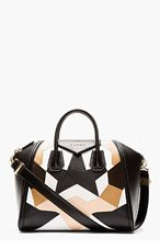 GIVENCHY Beige & black leather patchworked Medium Antigona Duffle for women
