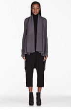 RICK OWENS Grey Alpaca Shawl-Hooded Wrap cardigan for women