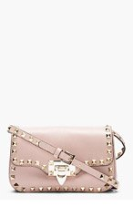 VALENTINO Nude Leather Rockstud Shoulder Bag for women