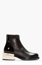 GIVENCHY Black leather & pale gold hardware Bal Boot for women