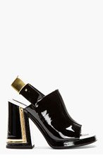 KENZO Black & gold patent leather Slingback Sandals for women