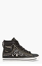 DIESEL Black Studded Exposure Sneakers for women