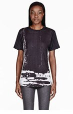 EN NOIR Black distorted Abstract T-shirt for women