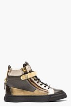 GIUSEPPE ZANOTTI Khaki & Silver London Sneakers for women