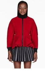 KTZ Red veleveteen peplum jacket for women