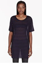 6397 Black & Navy Oversized Striped T-shirt for women