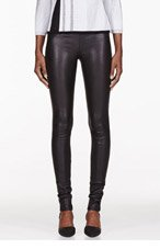 HELMUT LANG Black Stretch Leather Leggings for women