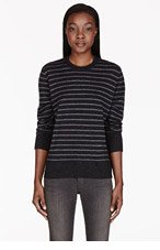 6397 Grey wool striped sweater for women