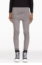 RICK OWENS Grey ribbed leggings for women