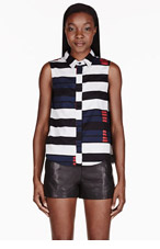 RAG & BONE White & black colorblocked blouse for women
