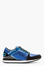 KENZO Blue Patent & metallic Eye print Sneakers for women