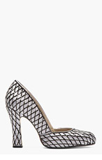 MARC JACOBS Grey Fishnet Sequined Pumps for women