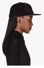 RICK OWENS DRKSHDW Black Leather & Corduroy Baseball Cap for women