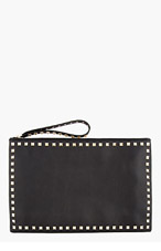 VALENTINO Black Leather Rockstud Zip Clutch for women