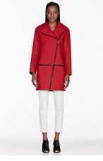 RAG & BONE Red Wool Rally Zip Coat for women