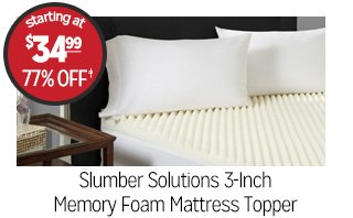 Slumber Solutions 3-Inch Memory Foam Mattress Topper - Starting at: $34.99 - 77% off‡