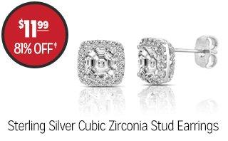 Sterling Silver Cubic Zirconia Stud Earrings - $11.99 - 81% off‡