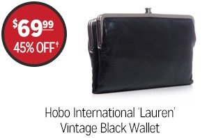 Hobo International 'Lauren' Vintage Black Wallet - $69.99 - 45% off‡