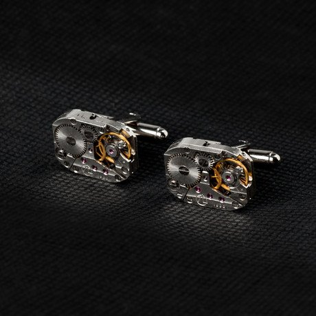 Watch Movement Cufflinks // Large Rectangular with Silver Surround