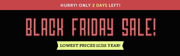 Hurry - Only 2 Days Left! Black Friday Sale - Lowest Prices of the Year!