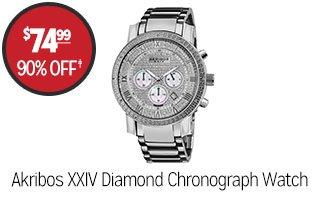 Akribos XXIV Men's Diamond Chronograph Watch - $74.99 - 90% off‡
