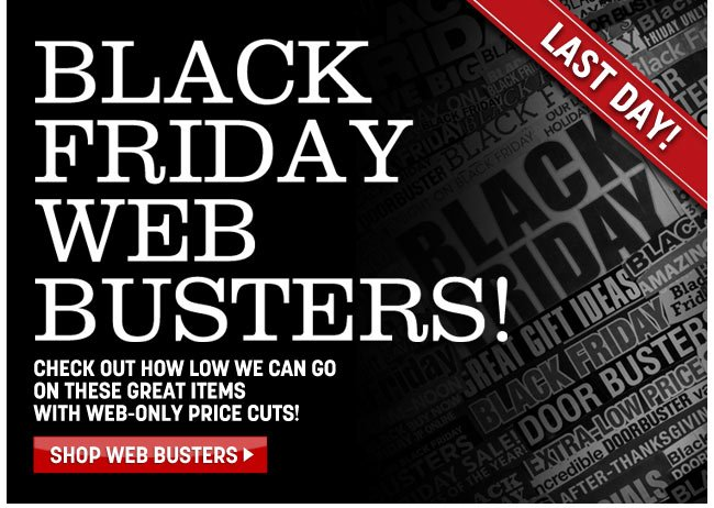 last day! black friday web busters! shop web busters - click the link below