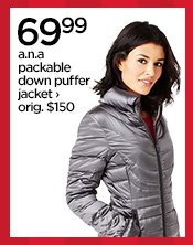 69.99 a.n.a packable down puffer jacket› orig. $150