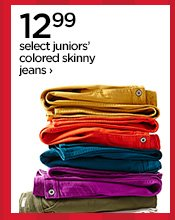 12.99 select juniors' colored skinny jeans›