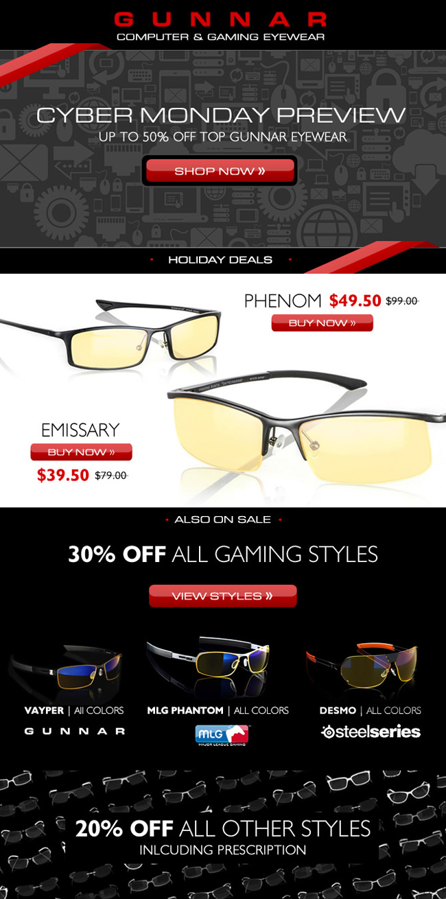 Cyber Week Preview | Up to 50% off top Gaming Glasses