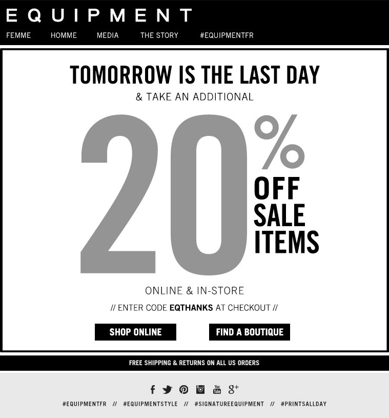 TOMORROW IS THE LAST DAY TAKE AN ADDITIONAL 20% OFF SALE ITEMS ONLINE & IN-STORE