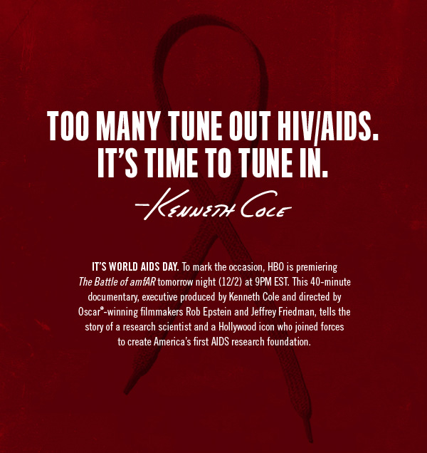IT'S WORLD AIDS DAY. To mark the occasion HBO is premiering The Battle of amfAR tomorrow night (12/2) at 9PM EST.