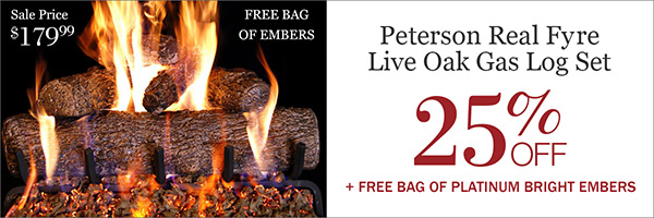 25% Off Peterson Real Fyre Live Oak Gas Log Set, Plus Free Embers