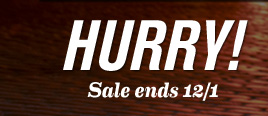HURRY! Sale ends 12/1