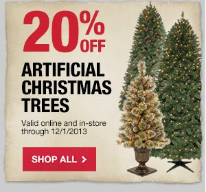 20% OFF Artificial Trees