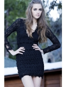 Nightcap Clothing Florence Lace Deep V In Black