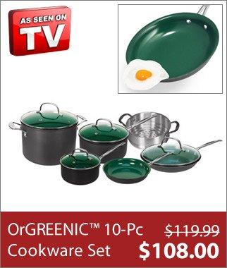 10 Pc Set OrGREENIC™ Ceramic Green Non-Stick Cookware