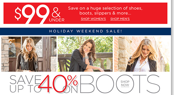 Shop great holiday deals and save up to 40% on great styles from Dansko, ECCO, UGG®, ABEO and more! Plus, shop your favorite UGG® Australia styles and we'll pay your tax, plus enjoy FREE shipping!* Find all the great deals online and in-stores at The Walking Company.