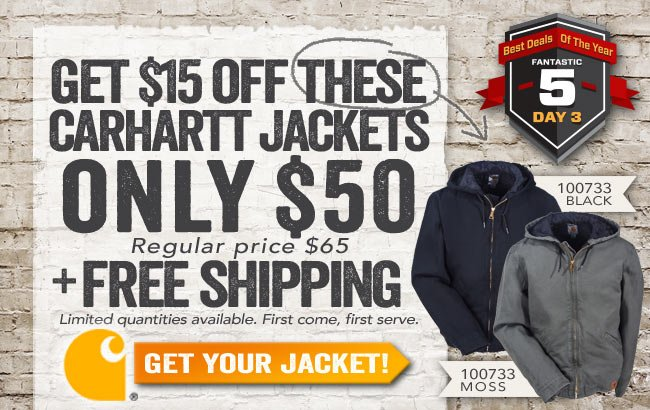 $15 OFF Select Carhartt Jackets + FREE Shipping!