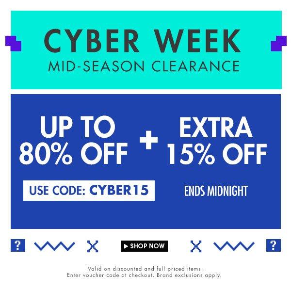 Cyberweek extra 15% off
