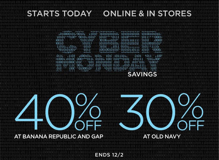 STARTS TODAY | ONLINE & IN STORES | CYBER MONDAY SAVINGS
