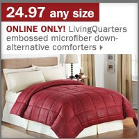 24.97 any size LivingQuarters embossed microfiber down-alternative comforters.