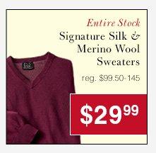 Signature Silk & Merino Wool Sweaters - $29.99 USD