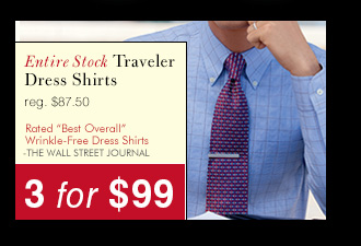 Traveler Dress Shirts - 3 for $99 USD