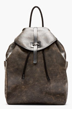ALEXANDER MCQUEEN Black mottled leather perforated skull backpack for men