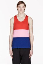 MARC BY MARC JACOBS Red & Navy Colorblocked Tank Top for men
