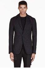 RICK OWENS Black jersey-layered HUSTLER BLAZER for men